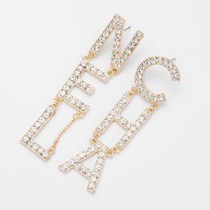 Crystal Rhinestone Letter Fashion Earrings